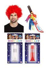 Evil Clown Wig Weapon Make Up Rainbow Halloween Fancy Dress Accessory Set