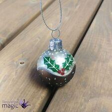 Gisela Graham Painted Mini Glass Bauble Ball Hang Christmas Pudding Tree 40mm