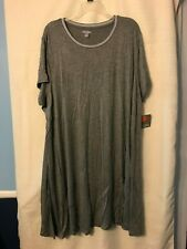 Falls Creek - Ladies-Dress Shirt-NWT-Gray-Crew Neck-Short Sleeve-Size-3X