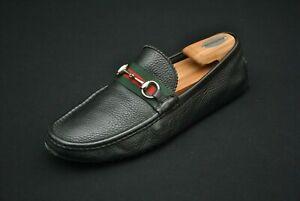 Damaged Gucci Black Horsebit Loafers Shoes Men Size 9 Driving Moccasins Green
