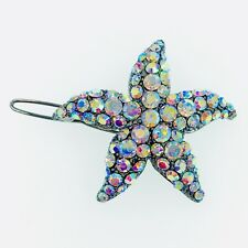 Hair Clip use Swarovski Crystal Hairpin Starfish Sea star Mermaid GUN Black AB