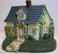 Cottage Home Old Cast Iron  Doorstop Roof Vines Flowers Decorative Art Statue