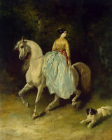 Nice oil painting young woman on white horse & her pet dog in landscape canvas