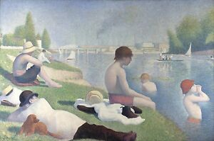 GEORGES SEURAT Bathers at Asnieres Reproduction Rolled CANVAS PRINT 34x24 in.