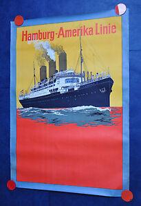 ANTIQUE ORIGINAL TRAVEL POSTER GERMANY HAMBURG USA AMERICA LINE ATLANTIC 1930