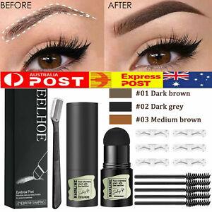 One Step Brow Stamp Shaping Kit Eyebrow Definer Hairline Powder Stencils Set AU