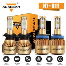 AUXBEAM H7 H11 Combo LED Headlight High Low Beam 144W 16000LM 6000K White Xenon