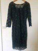 Laura Ashley Dark Green Lace Sequin Evening Wedding Guest Dress Size 12