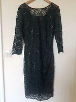 Laura Ashley Dark Green Lace Sequin Evening Wedding Guest Dress Size 12
