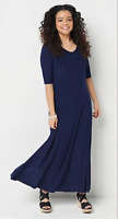 Attitudes by Renee Petite Solid Maxi Dress - Navy - Petite Large