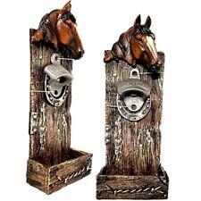Flaschenöffner mit Kronkorkenauffangbehälter, Wandflaschenöffner Pferd Hufeisen