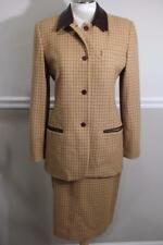 BURBERRY Women's Tan Brown Wool leather Grid Skirt Suit Size 6/10