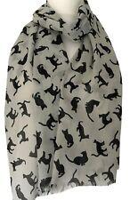 Grey Cat Scarf Black Cats Cotton Wrap Ladies Womens Fair Trade Shawl Kitty New