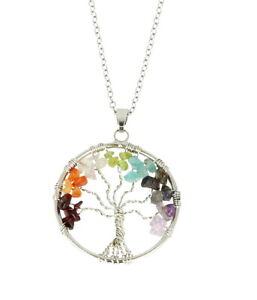 Chakra Tree of Life Pendant Necklace Healing Chakra Gemstones Amulet Gift Boxed