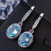 4Ct Oval Cut Blue Topaz Diamond Drop & Dangle Earrings 14K White Gold Finish