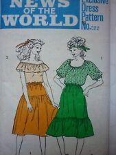 UNCUT VINTAGE 1970'S FOLK GYPSY BOHO SKIRT & BLOUSE DRESS SEWING PATTERN