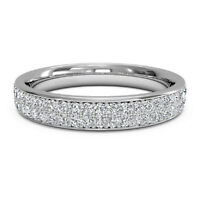 0.25 Ct Real Diamond Eternity Wedding Band 14K Solid White Gold Rings Size M N O