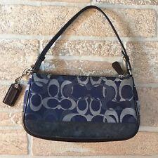 COACH Pouch Wristlet Logo Canvas Leather Accents Detachable Authentic U