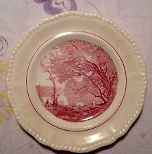 """Vintage Salem China Company Red Landscape Scene Corot Pattern 9"""" Plate"""