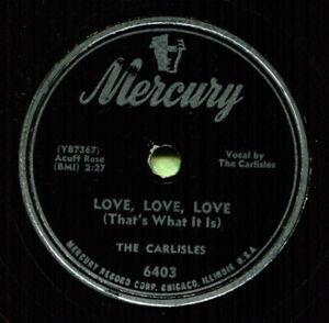 CARLISLES (Woman Driver / Love, Love, Love) CLASSIC COUNTRY 78 RPM RECORD