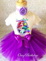 Ariel Little Mermaid Purple 4th Fourth Shirt Birthday Girl Tutu Outfit Set