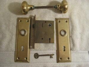 Vintage  Door Knobs -Plates -Mortise Door Lock Set with key