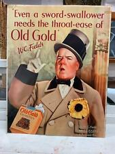 RARE 1935 WC FIELDS OLD GOLD CIGARETTES ADVERTISING SIGN MISSISSIPPI MOVIE