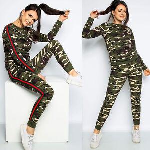 Womens Ladies Side Stripe Camouflage Lounge Wear Jogging Bottom Tracksuit Set
