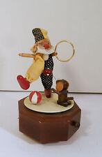 """Schmid Mechanical Wooden Music Box """"The Entertainer"""" Clown, Dog, Ring Balls"""