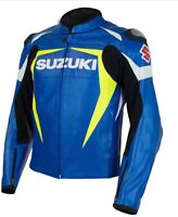 SUZUKI BLUE/YELLOW MOTORCYCLE ARMOURED COWHIDE LEATHER MOTORBIKE JACKET
