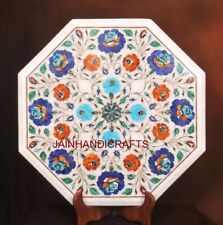 2' White Marble Table Top Coffee Center Side Inlay Lapis Room Decor W126