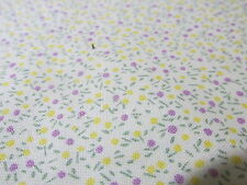 Vtg calico micro floral cotton fabric white lilac BTHY doll clothes BTHY