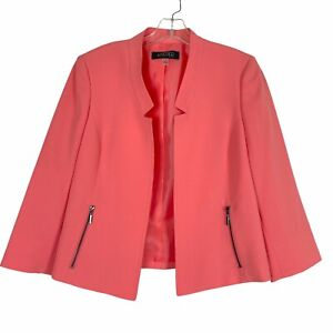 NWOT Kasper Coral Orange Long Sleeve Blazer Jacket Size 8