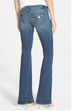 NWT $198 TRUE RELIGION JOEY LOW RISE FLAP SUNDRIED BLUE FLARE STRETCH JEANS 25
