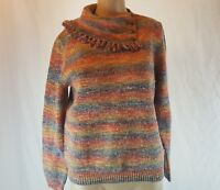 Alfred Dunner Women's Junior's Rainbow Sweater Fringe Collar Size Petite Medium