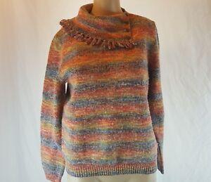 Alfred Dunner Women's Junior's Rainbow Sweater Fringe Collar Size Petite Medium