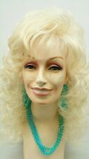 Curly Long Dolly Parton Style Wig Blonde Bangs Big Curls Drag 18""