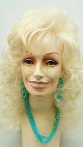 """Curly Long Dolly Parton Style Wig Blonde Bangs Big Curls Drag 18"""""""