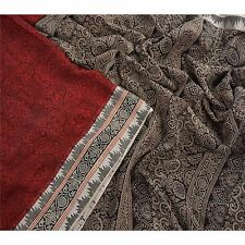 Sanskriti Vintage 100% Pure Cotton Saree Dark Red Printed Sari Craft Fabric