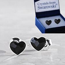 Espiga de Plata Esterlina 925 corazón Plana De Oreja Negro Azabache 6 mm Cristales de Swarovski ®