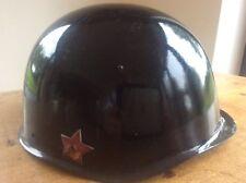 Vintage Steel Military Helmet Russian Polish Czech M40 M1940 Enamel Badge Sickle