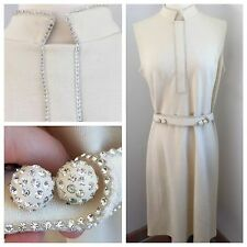 Stunning Vintage 60S Rhinestone Cream Shift Dress Disco Act 3 SALE