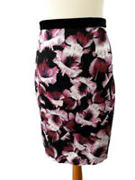 M&S Woman Size 12 Purple White Straight Pencil Skirt Velvet Waistband Party