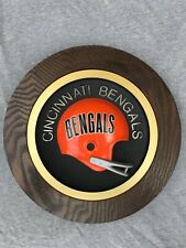 """Vintage 1970's Cincinnati Bengals 14"""" Round Football Helmet Plaque"""
