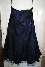 Teatro  Silk Beaded Strapless Dress In Blue With Inner Skirt  Uk Size 18