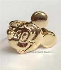 Vintage Disney Mickey Mouse Ring Gold Plated Size 5 6 7 8 Disneyana Adjustable
