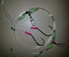 100LB TRACE RIGS ULTIMATE 2 DROPPERS PATERNOSTER MONO 6/0 BEAK 7/0 CIRCLE LUMO