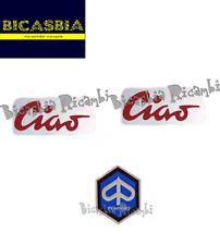 11441 TARGHETTA LATERALE X 2 ROSSA + SCUDETTO IN ALLUMINIO PIAGGIO 50 CIAO C7 C9