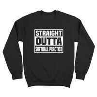Straight Outta Softball Practice  Funny Humor Black Crewneck Sweatshirt