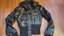 Miley Cyrus Max Azria black faux leather bomber jacket juniors medium M